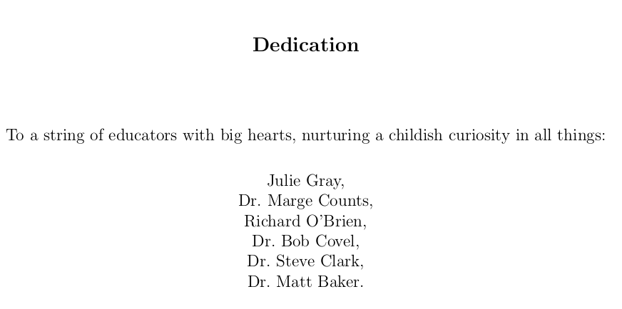 Thesis dedication in memory of