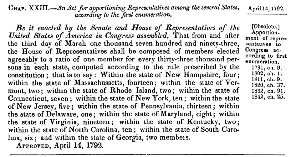 Apportionment Act of 1792